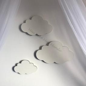 Nuvem Luminária Parede Com Led, Kit 3 Nuvens Mdf Branco