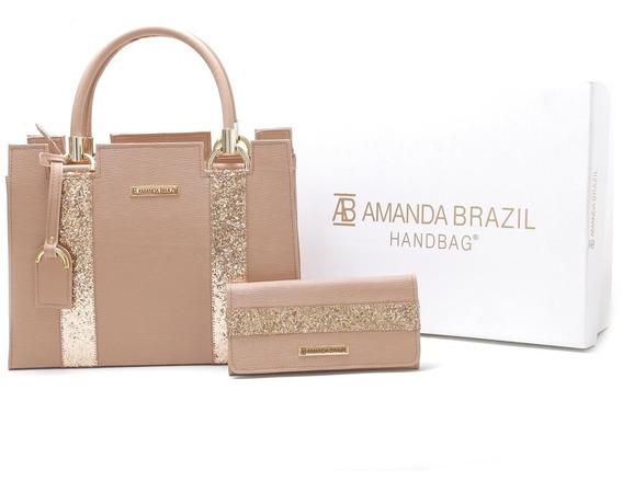 Bolsa Lorera Amanda Brazil Com Listras Douradas Lançamento !
