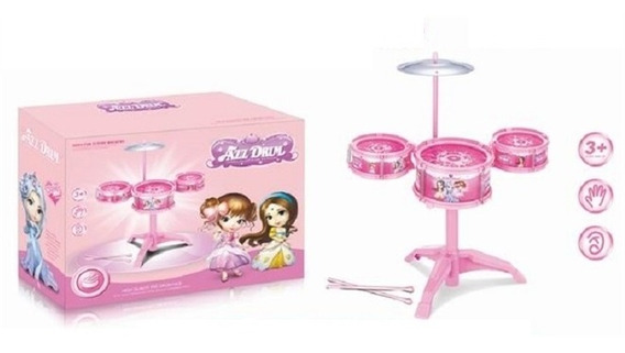 Bateria Infantil Rosa Musical Completo Com 3 Tambores Disco