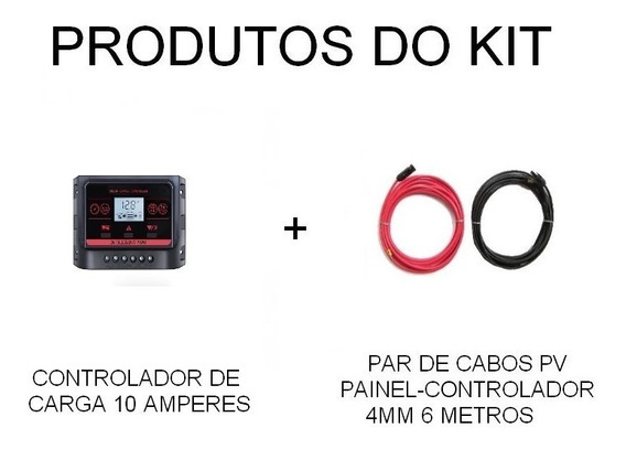 Kit Controlador Carga Regulador 10a Painel Solar + Cabo 4mm