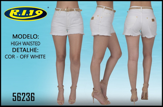 Short Jeans Feminino Branco Ri19 High Waisted 56236