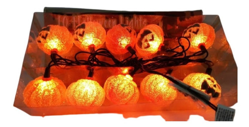 Luces 10 Bombillos Color Naranja, Halloween Lights, Import