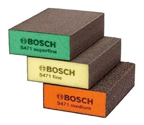 Imagen 1 de 2 de Set De Esponjas Abrasivas Taco Bosch Superfino, Fino Y Medio
