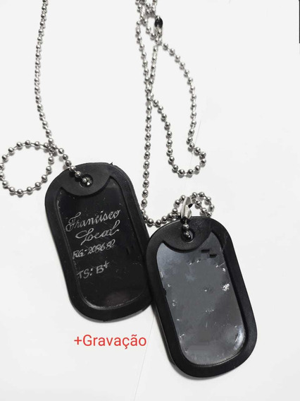 Cordão Placa Militar Pqd Aço Identificação Gravação