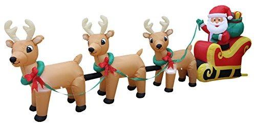 Santa Claus En Trineo Con 3 Renos Inflables Decoración De N