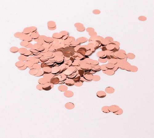 Confetti Papelito Globo Circulo Gold Rose Metalizado 30grs