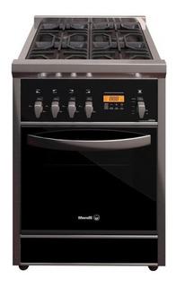Cocina Morelli Cristal 600 4 hornallas a gas/eléctrica plateada/negra 220V puerta visor