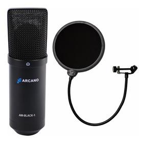 Microfone Usb Arcano P Estúdio Am-black-1 + Pop Filter Am-f1