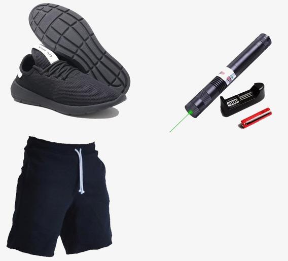 Short Bermuda Masculina + Tenis Polo + Laser Verde 50 Km Top