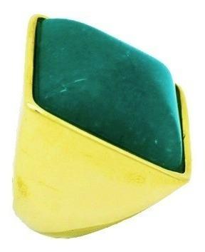 Anel Pedra Natural Quadrado Quartzo Verde Banhado A Ouro 18k