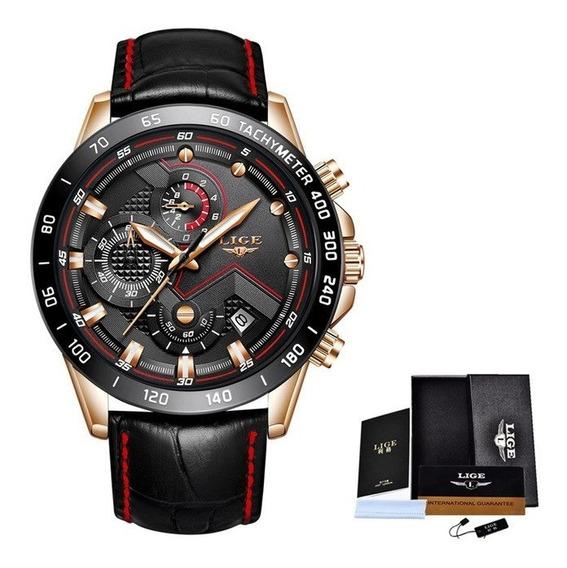 Relógio Masculino Couro Lige Modelo 9874