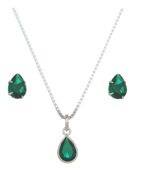 Conjunto Colar Brinco Prata 925 Legítima Pedra Azul, Verde