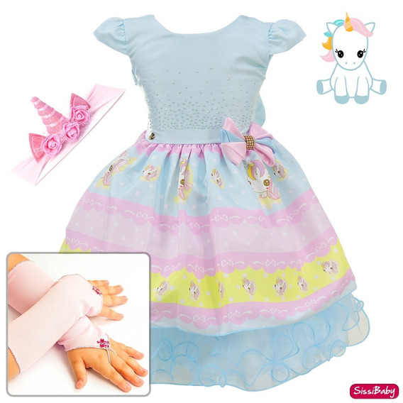 Vestido Infantil Unicórnio Mundo Encantado Baby Faixa Luvas