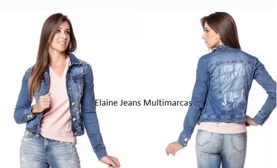 Jaqueta Feminina Perolas Consciencia Jeans Botoes Até 42