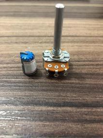 Potenciometro L20 16mm 10 K- Estriado Curto Alumínio + Knob