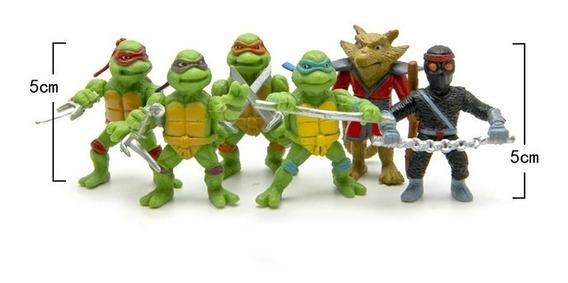 Mini Bonecos Tartarugas Ninjas C 6 Unidades ;que Medem 5 Cm