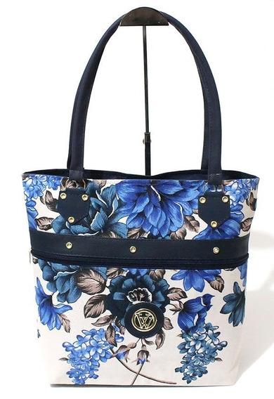 Bolsa Floral Confeccionada Em Lona De Algodão