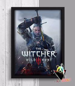 Quadro The Witcher 3 Wild Hunt Gamer Poster Geek Nerd Vidro