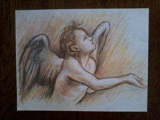 Dibujo A Lapiz De Color. Angel, Detalle De Obra Clásica.