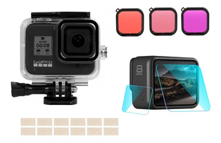 Kit De Carcasa Sumergible Gopro 5 6 7 8 Black Filtro Colores