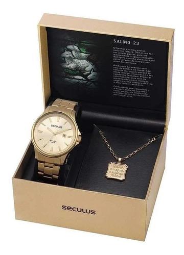 Relógio Seculus Masculino 28934gpsvda1 Dourado Salmos 23