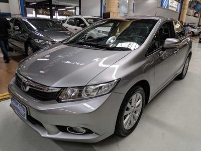Honda Civic 2.0 Flex Lxr Cinza 2014 (automático + Couro)