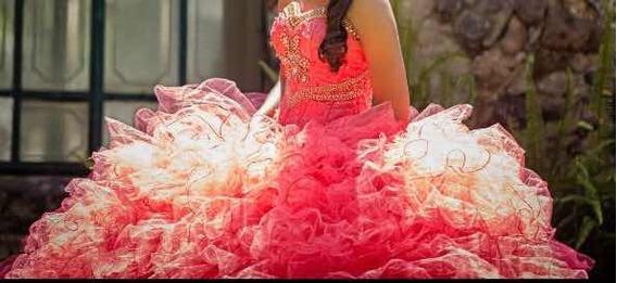Vestido De Xv Para Talla Chica, Color Coral. Único.