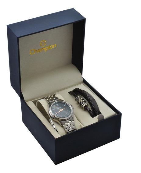 Relógio Champion Masculino Kit Com Pulseira Couro Ch22046c