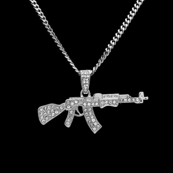 Corrente Iced Out Ak 47 Prata Cravejada (p/ Entrega)