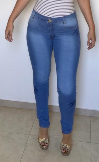 Calça Jeans Feminina Estilo Sawary Lipo Cintura Alta Linda