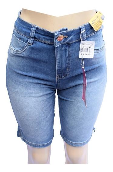 Bermuda Jeans Feminina Sawary Heart Cropped Skinny C/ Lycra