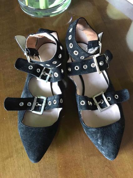 Ballerinas De Gamuza Negra Talle 36 Marca Complot