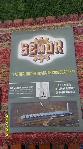 Antigua Publicidad Cartel Cartón Almanaque Cosechadora Senor