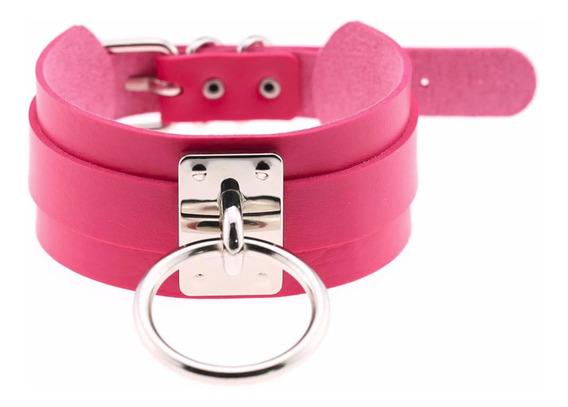 Coleira Colar Choker Gargantilha Slave Bdsm - Pink Feminina