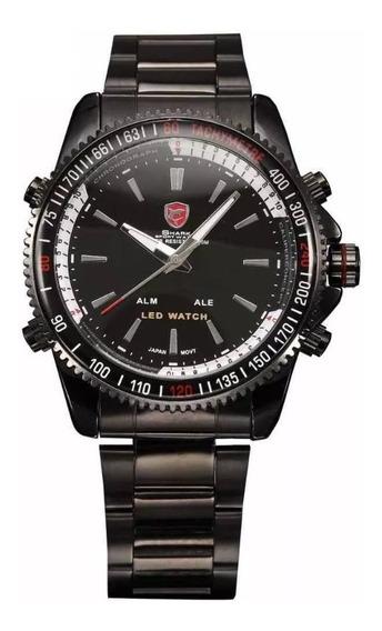 Relógio Masculino Shark Anadigi Sh-001 - Preto E Branco
