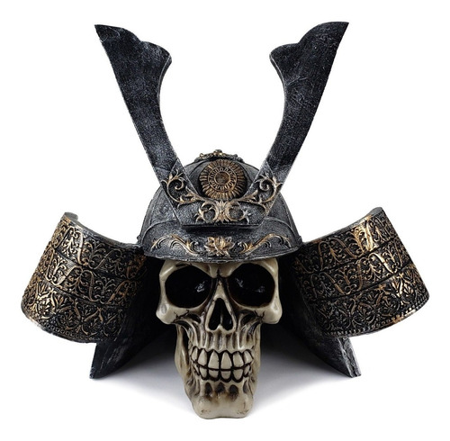 Crânio Caveira Samurai Guerreiro 22,5 Cm Decoração De Resina