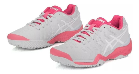 Tênis Asics Gel Resolution 7 Clay Cinza E Rosa Original+nf