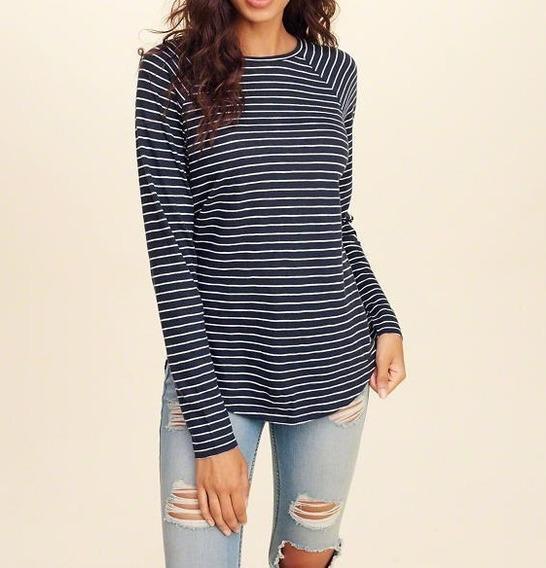 Camiseta Hollister Feminina 100% Original Importada Listrada