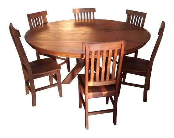 Jogo De Jantar 1,3mt Com 6 Cadeiras Madeira Maciça