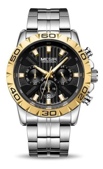 Relógio Masculino Original Luxo Megir Aço Inox Funcional Top