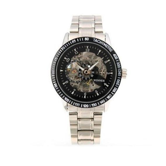 Esquelético Mecánico Acero Inoxidable Reloj De Regalo Pmw004