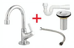 Torneira Banheiro + Sifão + Flexível + Válvula Metal