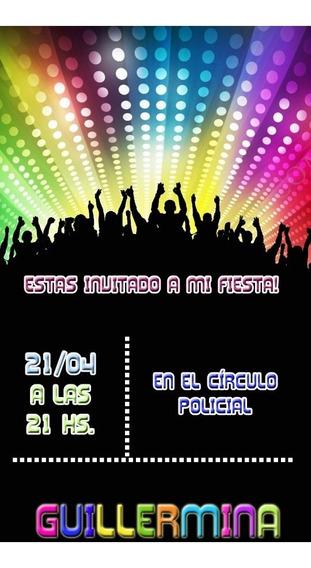 Invitacion Disco Baile Tarjeta Digital Imprimible 15 Wapp