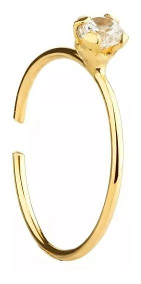 Piercing De Nariz Argola Em Ouro 18k Pedrinha Zirconia P/luz