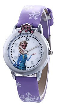 Relógio Frozen Princesa Anna E Elza Com Strass 3 Modelos
