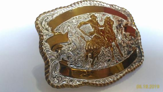 Fivela Country Crumrine Laçador De Bezerro Em Prata E Bronze