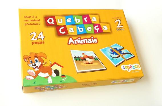 Jogo Educativo Quebra-cabeça Animais 24 Peças Em Mdf 6mm