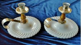 Antigo Par Castiçais Ingleses Milk Glass