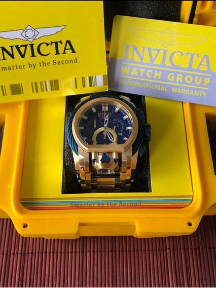 Relogio Invicta Magnum Dourado Cordao Azul Com Caixa Dukd