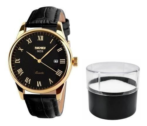 Relógio Original Pulseira De Couro Modelo 9058 Luxo Skmei